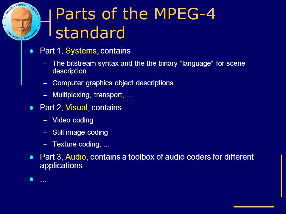 Parts of the MPEG-4 standard