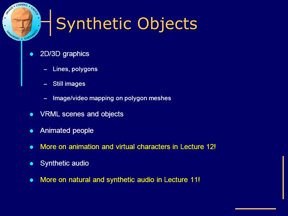 Synthetic Objects 2D/3D graphics VRML scenes and objects