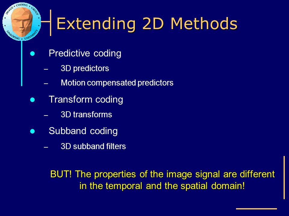 Extending 2D Methods Predictive coding Transform coding Subband coding