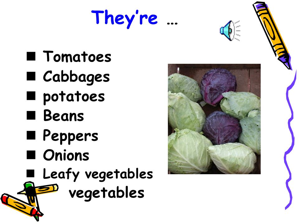 They're … Tomatoes Cabbages potatoes Beans Peppers Onions vegetables