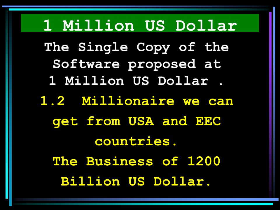 The Single Copy of the Software proposed at 1 Million US Dollar .