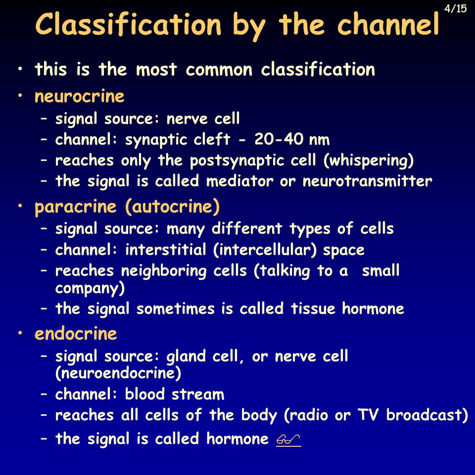 Classification by the channel