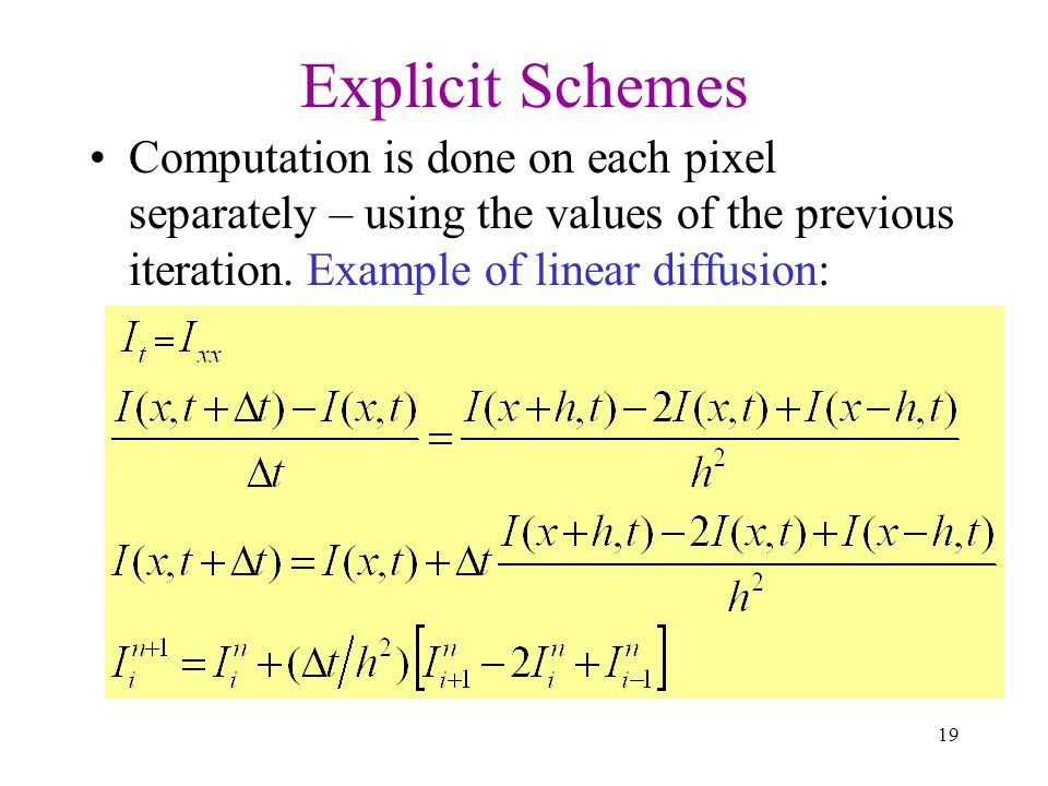 Explicit Schemes Computation is done on each pixel separately – using the values of the previous iteration.