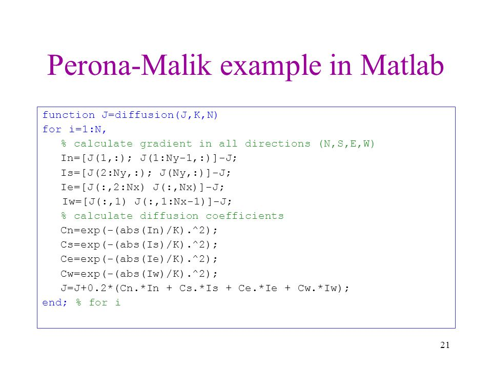 Perona-Malik example in Matlab