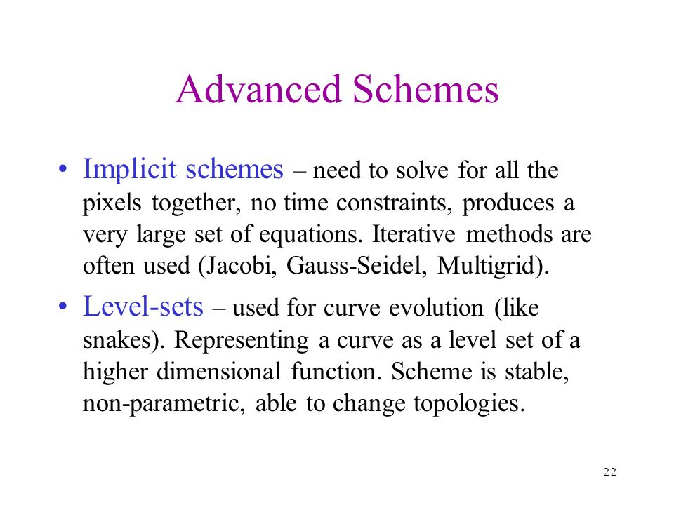 Advanced Schemes