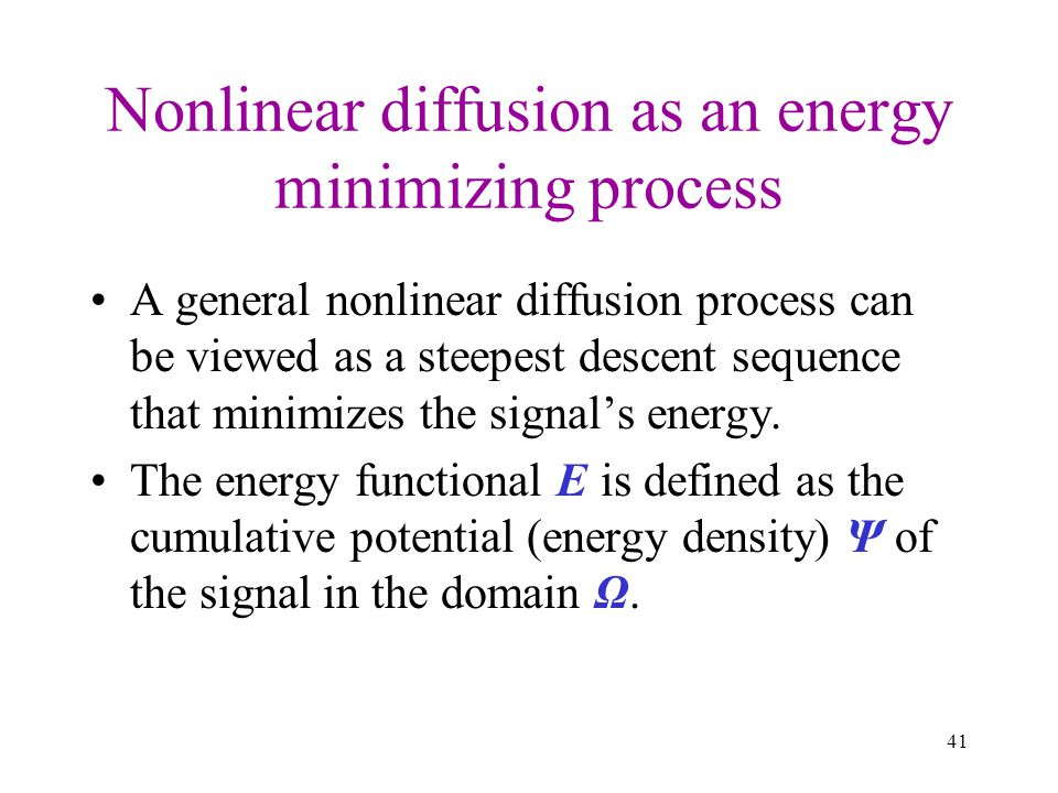 Nonlinear diffusion as an energy minimizing process