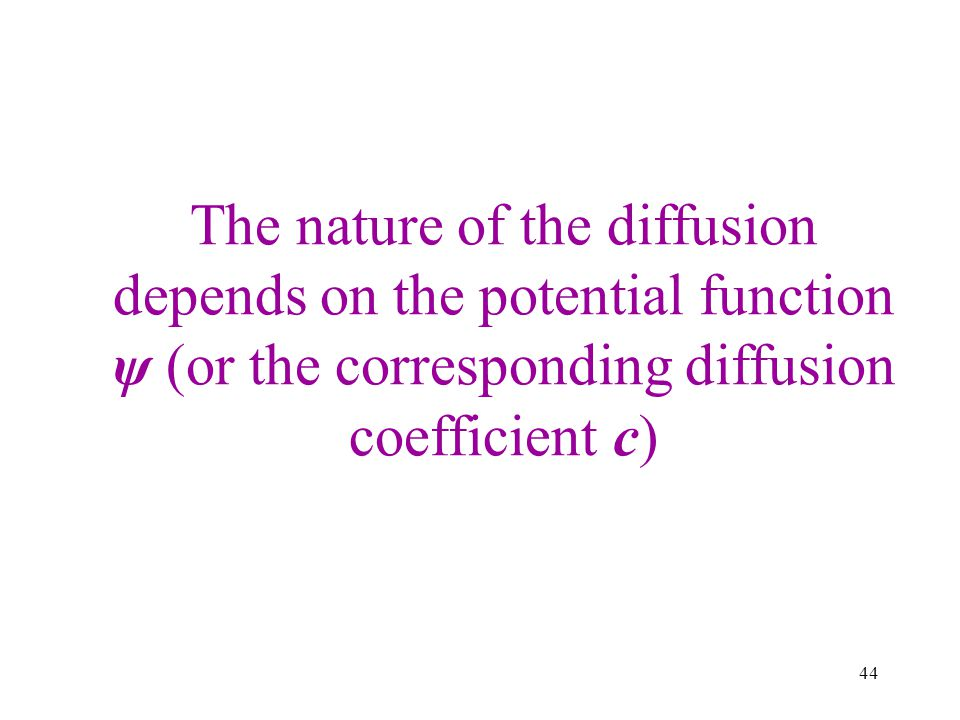 The nature of the diffusion depends on the potential function ψ (or the corresponding diffusion coefficient c)