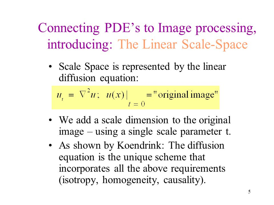 Connecting PDE's to Image processing, introducing: The Linear Scale-Space