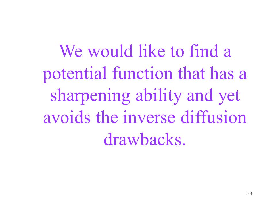 We would like to find a potential function that has a sharpening ability and yet avoids the inverse diffusion drawbacks.
