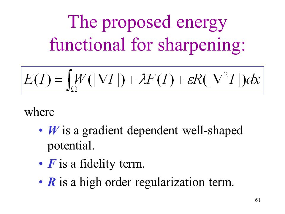 The proposed energy functional for sharpening: