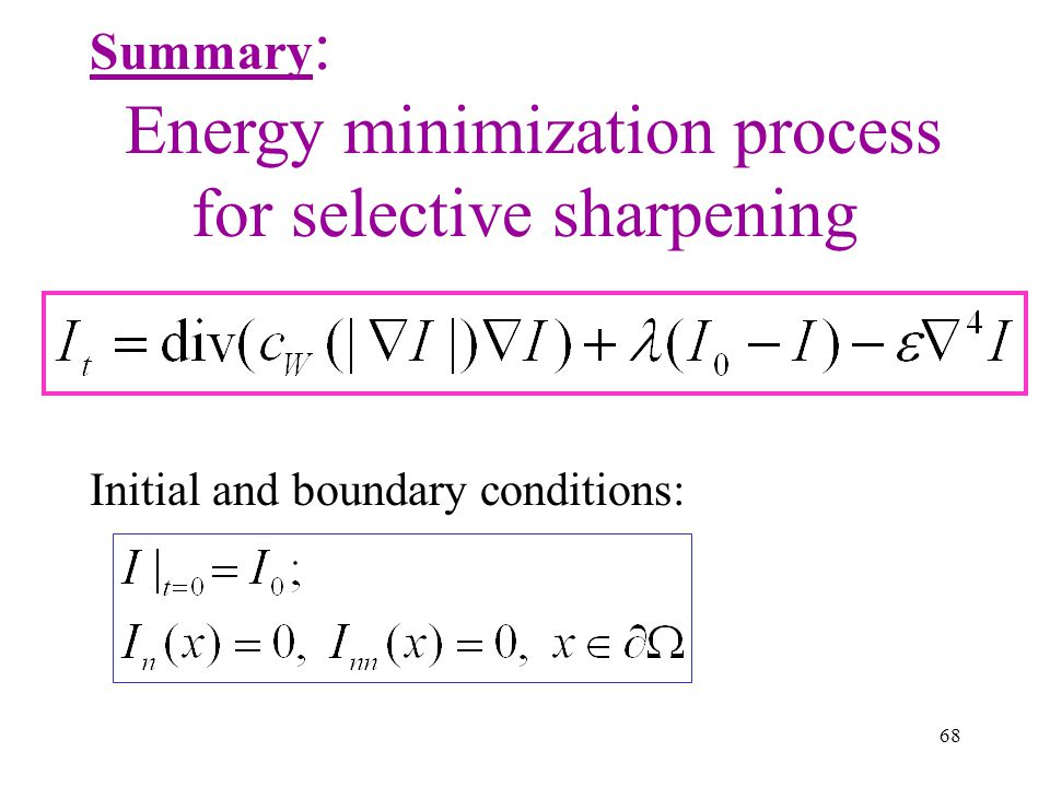 Energy minimization process for selective sharpening