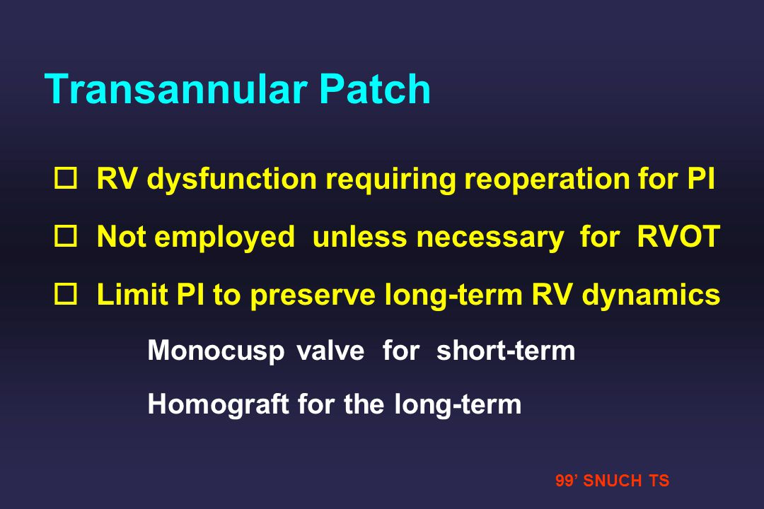 Transannular Patch RV dysfunction requiring reoperation for PI