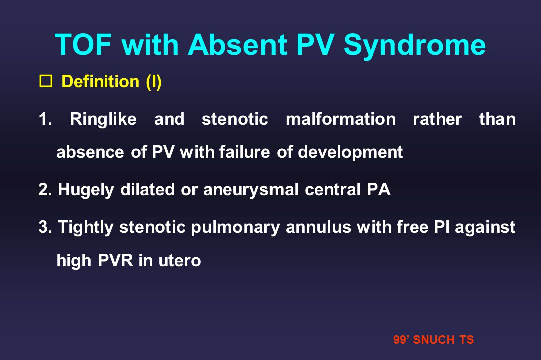 TOF with Absent PV Syndrome