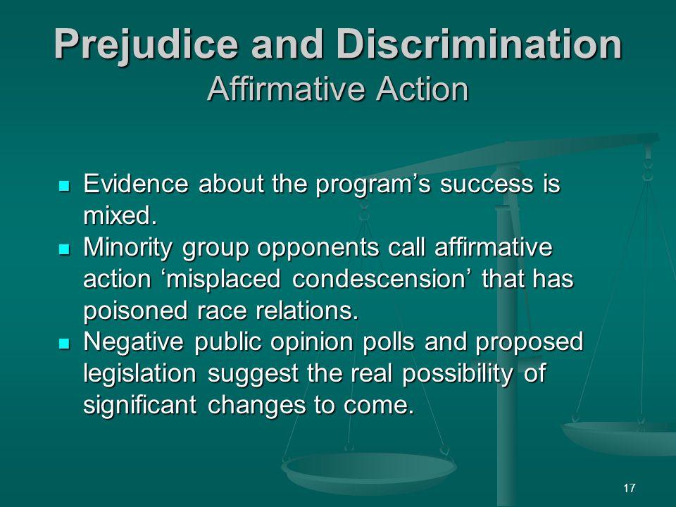 Prejudice and Discrimination Affirmative Action
