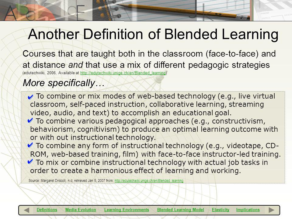 Another Definition of Blended Learning