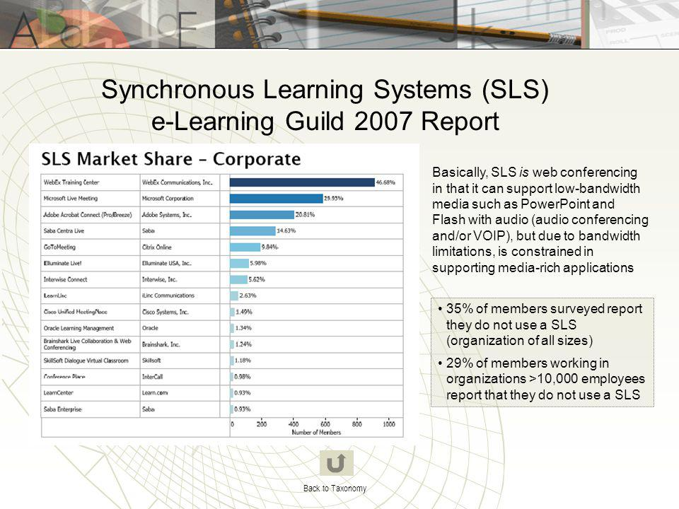 Synchronous Learning Systems (SLS) e-Learning Guild 2007 Report