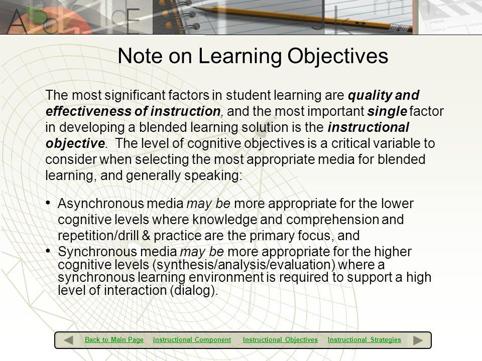 Note on Learning Objectives
