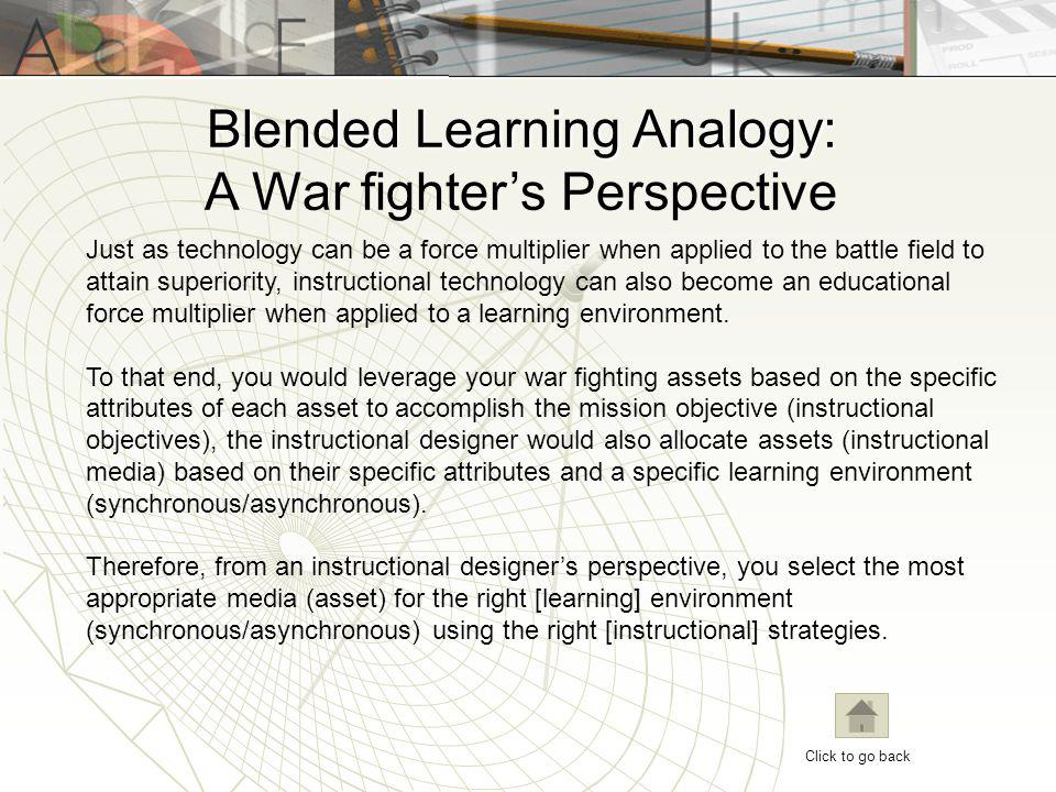 Blended Learning Analogy: A War fighter's Perspective