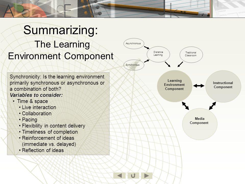 Summarizing: The Learning Environment Component
