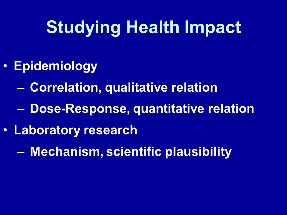 Studying Health Impact