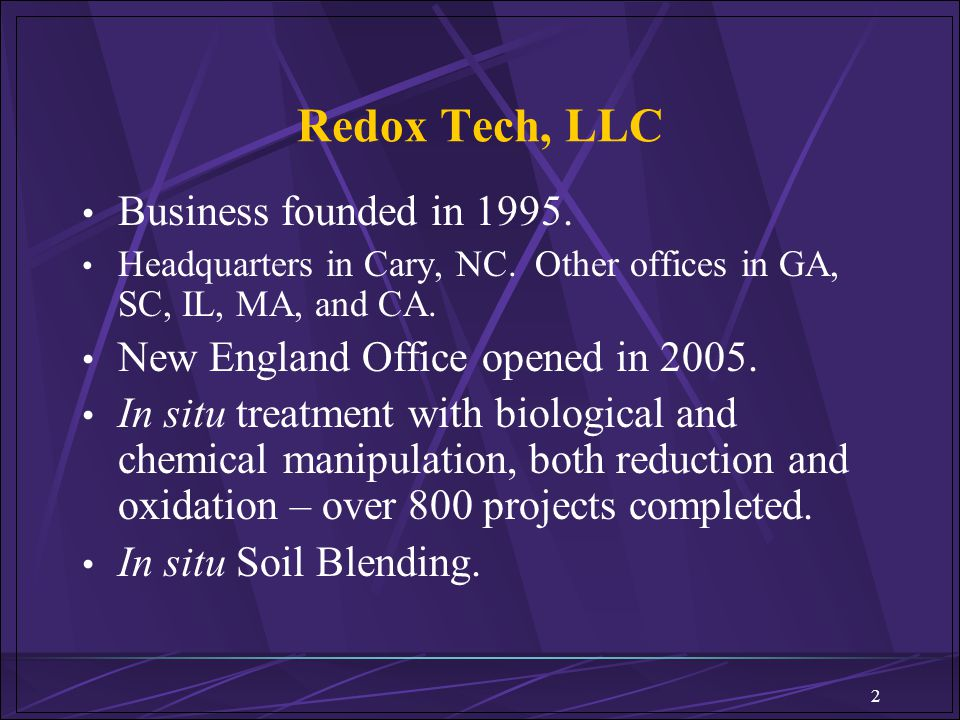 Redox Tech, LLC Business founded in 1995.