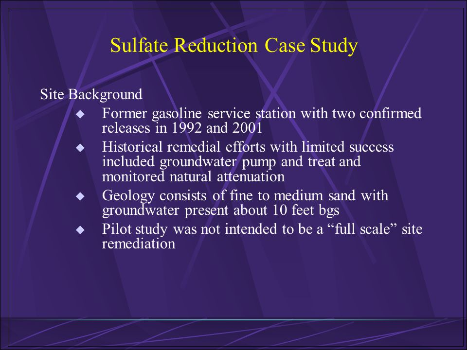 Sulfate Reduction Case Study