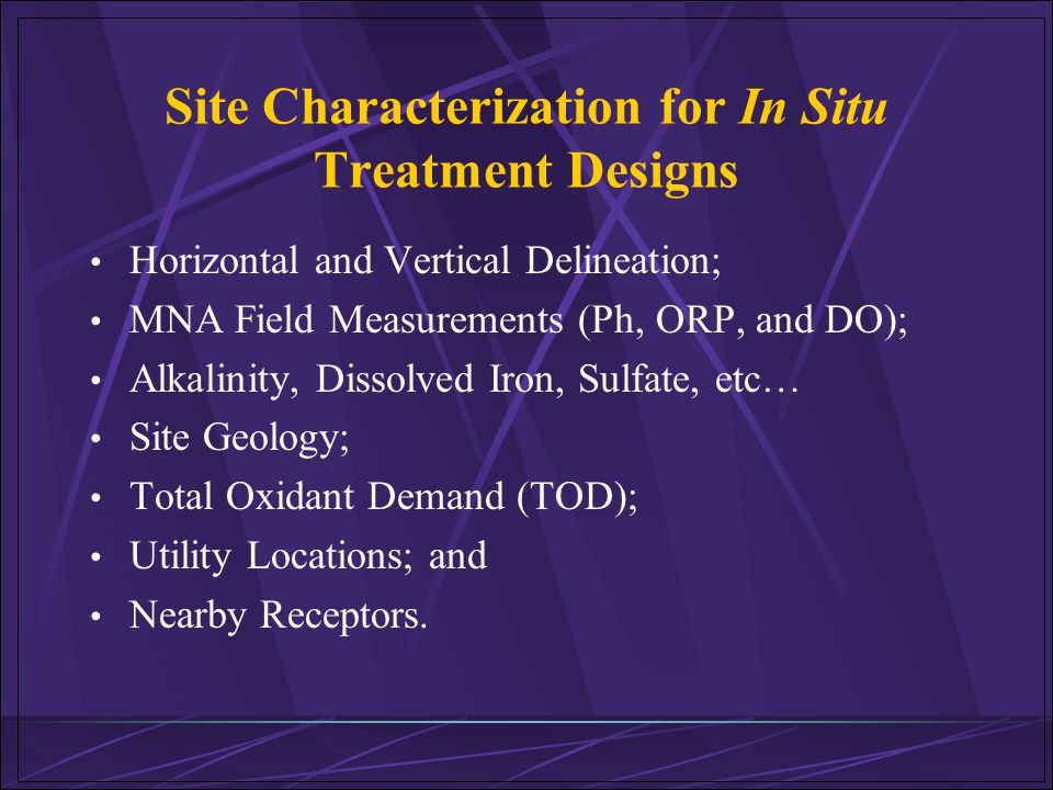 Site Characterization for In Situ Treatment Designs
