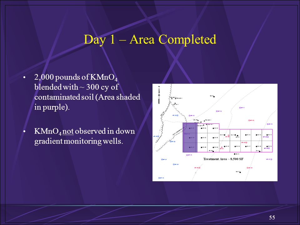 Day 1 – Area Completed 2,000 pounds of KMnO4 blended with ~ 300 cy of contaminated soil (Area shaded in purple).