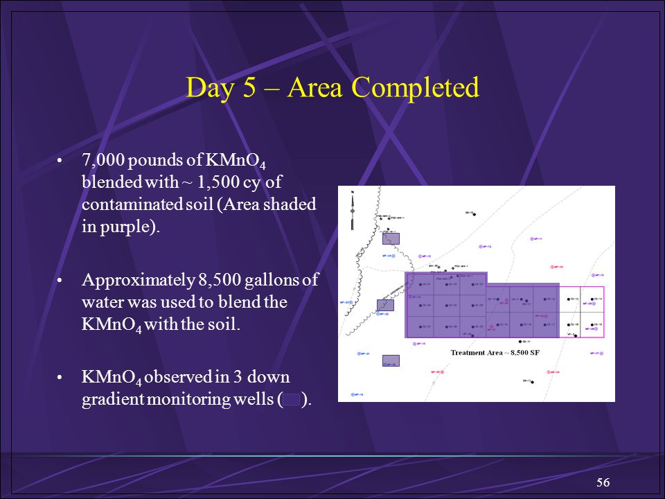 Day 5 – Area Completed 7,000 pounds of KMnO4 blended with ~ 1,500 cy of contaminated soil (Area shaded in purple).