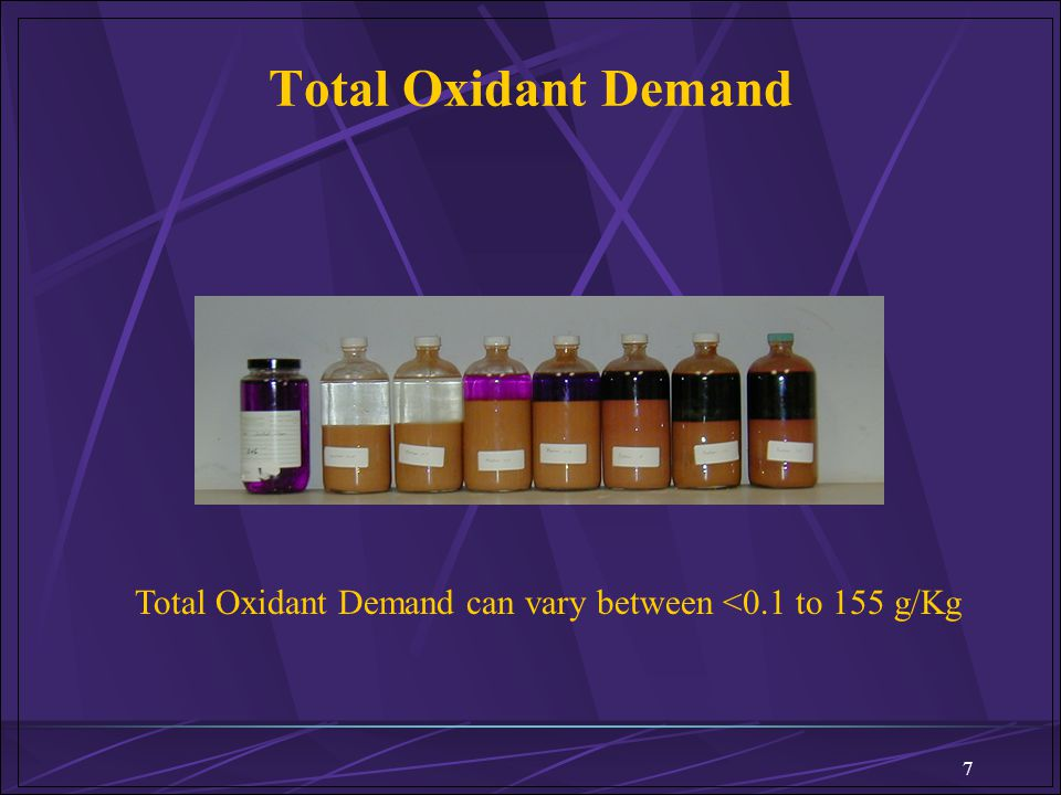 Total Oxidant Demand Total Oxidant Demand can vary between <0.1 to 155 g/Kg. 7. ARS Technologies 2000.