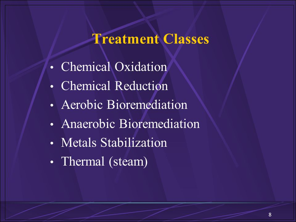 Treatment Classes Chemical Oxidation Chemical Reduction