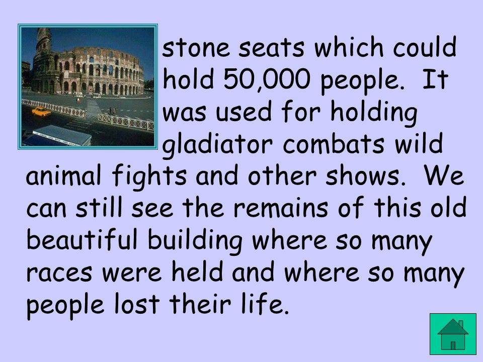 stone seats which could hold 50,000 people