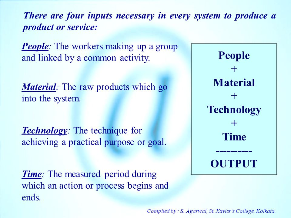 People + Material + Technology + Time ---------- OUTPUT