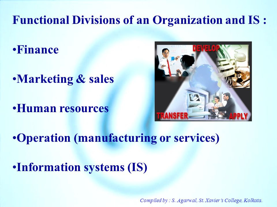 Functional Divisions of an Organization and IS : Finance