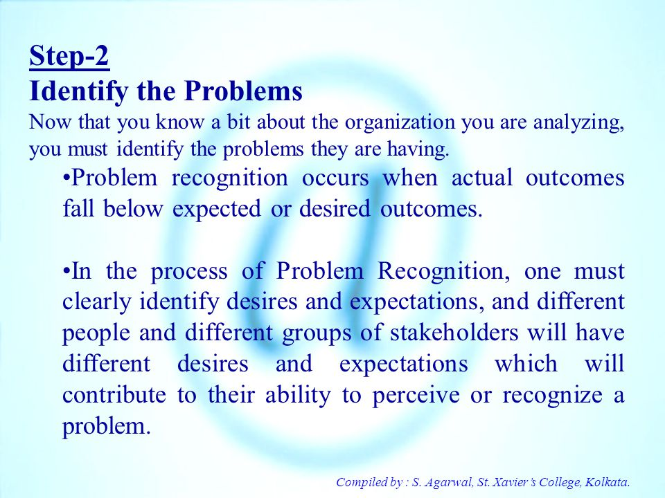 Step-2 Identify the Problems