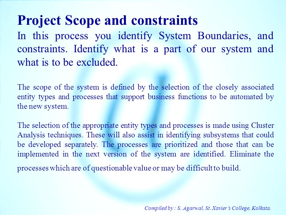 Project Scope and constraints