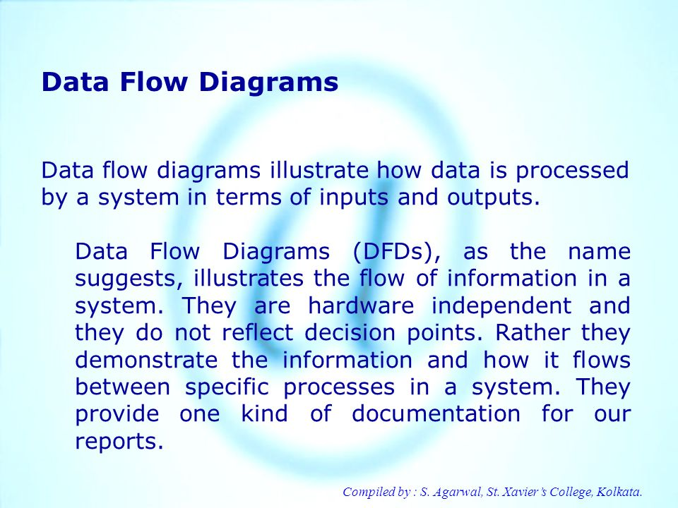Data Flow Diagrams Data flow diagrams illustrate how data is processed by a system in terms of inputs and outputs.