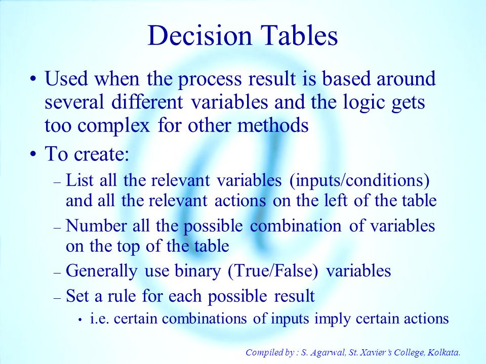 Decision Tables Used when the process result is based around several different variables and the logic gets too complex for other methods.