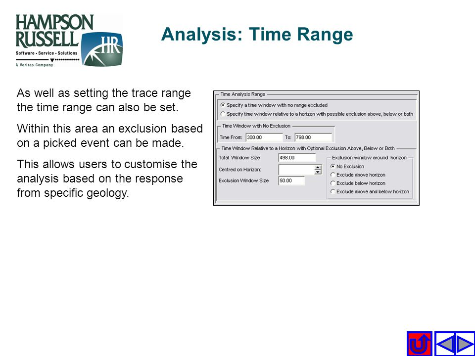 Analysis: Time Range As well as setting the trace range the time range can also be set.