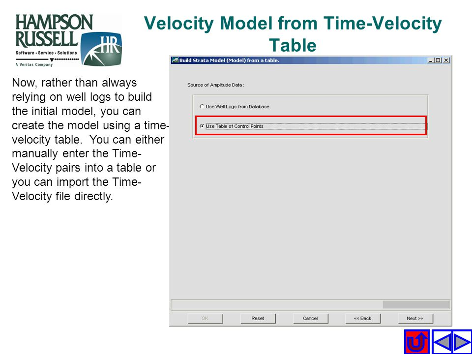 Velocity Model from Time-Velocity Table