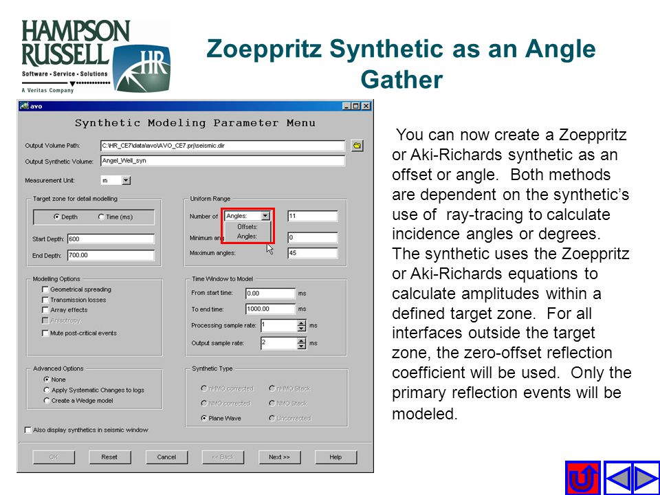 Zoeppritz Synthetic as an Angle Gather