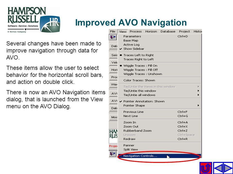 Improved AVO Navigation