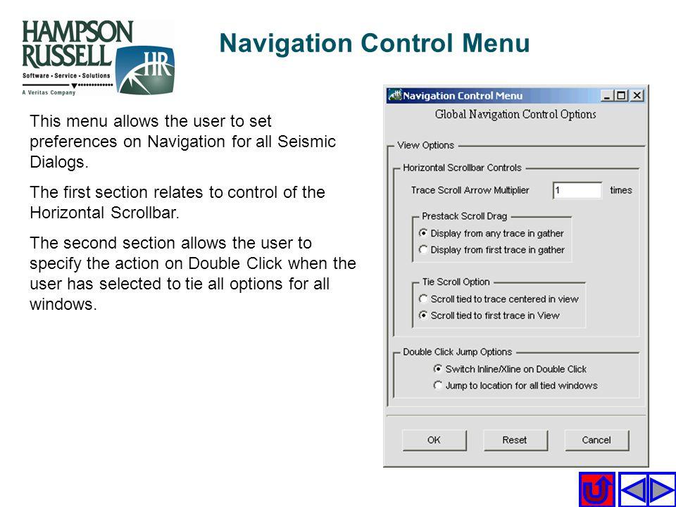 Navigation Control Menu