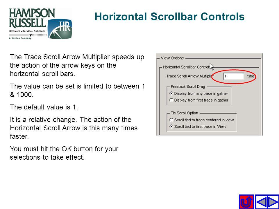 Horizontal Scrollbar Controls