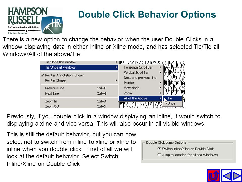 Double Click Behavior Options