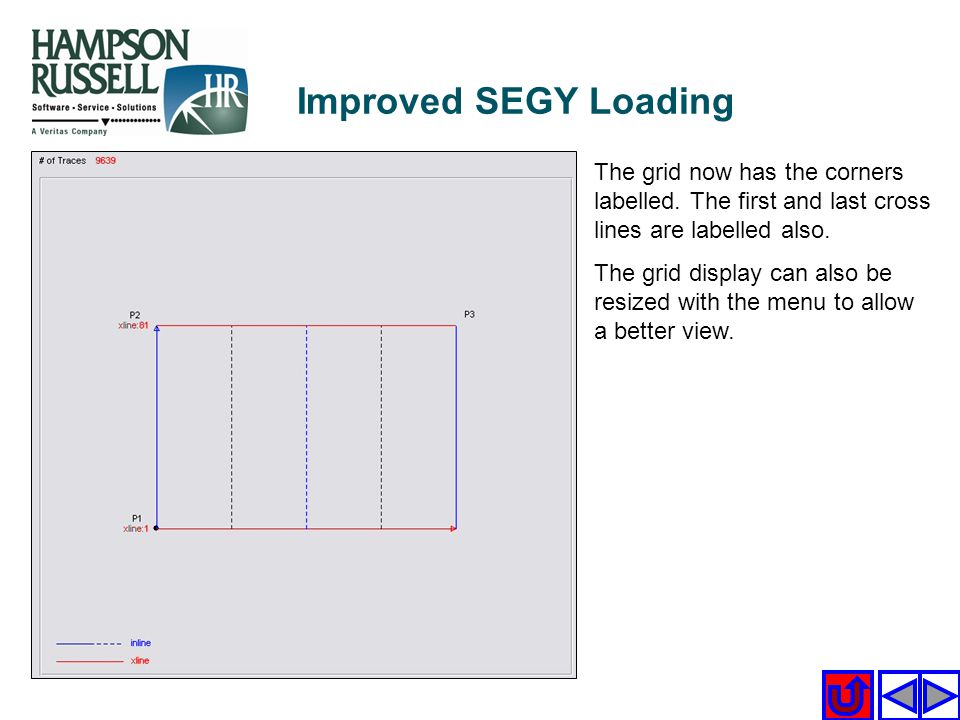 Improved SEGY Loading The grid now has the corners labelled. The first and last cross lines are labelled also.