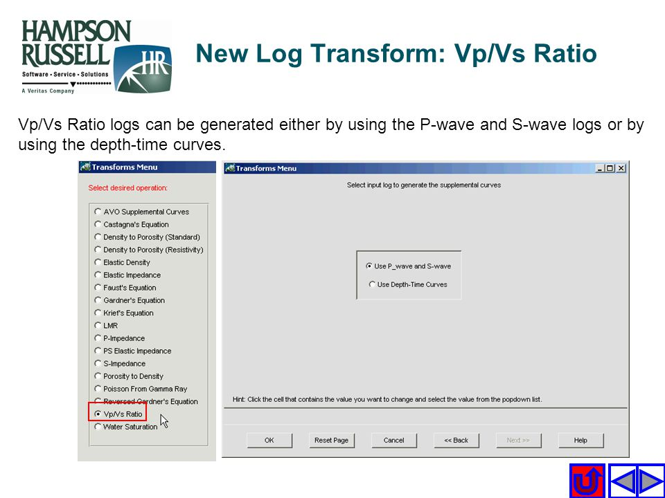 New Log Transform: Vp/Vs Ratio