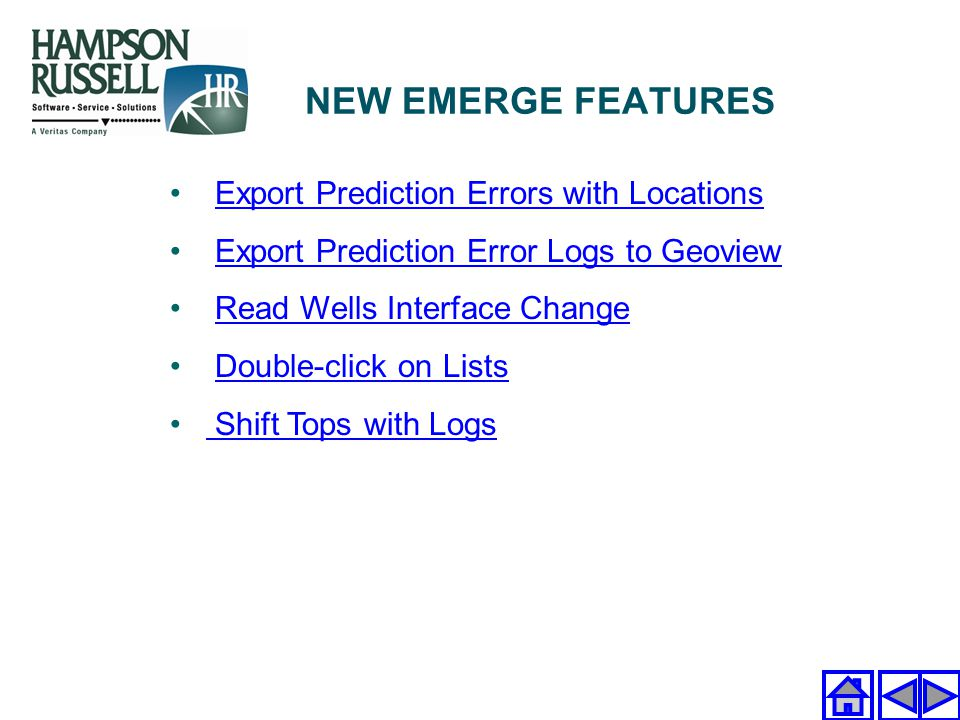 NEW EMERGE FEATURES Export Prediction Errors with Locations