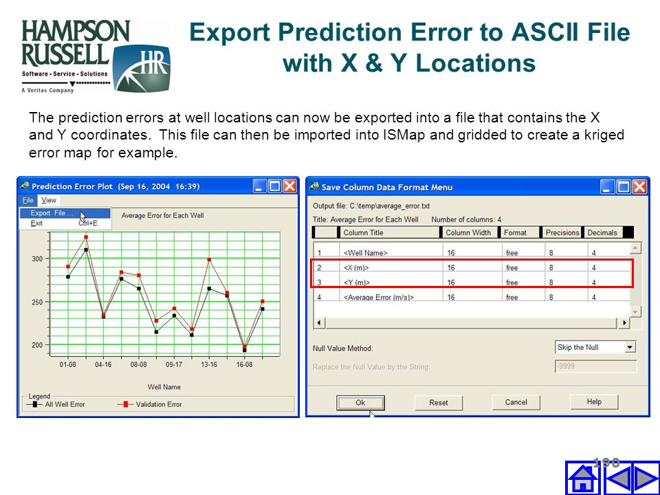Export Prediction Error to ASCII File with X & Y Locations