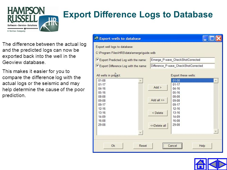 Export Difference Logs to Database